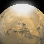 Researchers have determined the size of CO2 snow particles on Mars, depicted in this artist's rendering as a mist or fog that eventually settles to the surface as carbon dioxide snow.