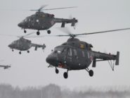 "A tight formation of multi-role Ansat helicopters passes over snowy wastes in the Russian hinterland. According to industry experts, these machines – capable of flying day or night, and in nasty weather conditions – rank among the most suitable helicopters for the African market. Ansat is a Tatar word meaning ""easy"" or ""simple""."