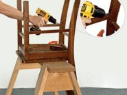 It takes a stubby drill driver or a right-angle attachment to install a pocket screw between a chair's parts. Save space by inserting the bit directly in the chuck rather than in a magnetic bit holder. Image credit: Devon Jarvis