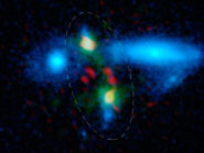 The rare merging galaxies are circled in this image.