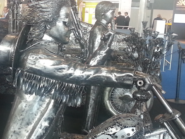 Biker metal sculpture close up