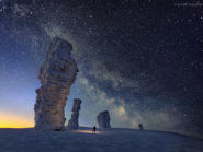 Here the Milkyway can be seen above the Manpupuner rock formations of Northern Russia. Credit: NASA