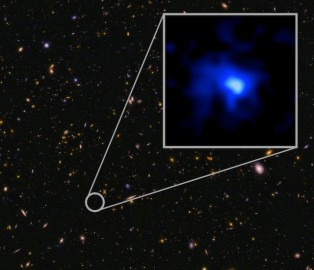 The farthest confirmed galaxy observed to date, identified in this Hubble image of a field of galaxies in the CANDELS survey (Cosmic Assembly Near-infrared Deep Extragalactic Legacy Survey). The WM Keck Observatory obtained a spectroscopic redshift (z=7.7), extending the previous redshift record. This is the most distant confirmed galaxy known, and it appears to also be one of the most massive sources at that time. The inset image of the galaxy is blue, suggesting very young stars.