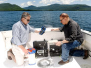 IBM's Mike Kelly, left, and Harry Kolar look over equipment on Wednesday, June 24, 2015, used in the scientific study of Lake George water quality.    Photo Credit: Darryl Bautista/Feature Photo Service for IBM