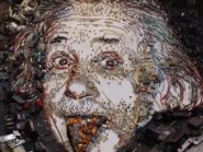 Artist recreates Einstein portrait using scrap