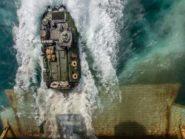 Amphibious assault vehicle exits a ship.