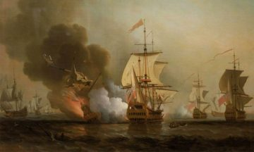 Explosion of San José during Wager's Action. Oil on canvas by Samuel Scott.