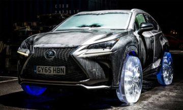 Lexus NX drives on ice wheels