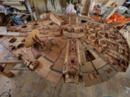 Hand carved 3 000-piece Millennium Falcon