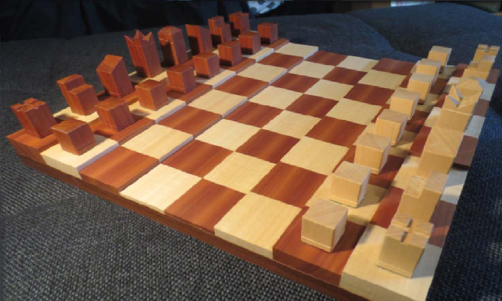 Simple 3D chessboard with minimalistic pieces
