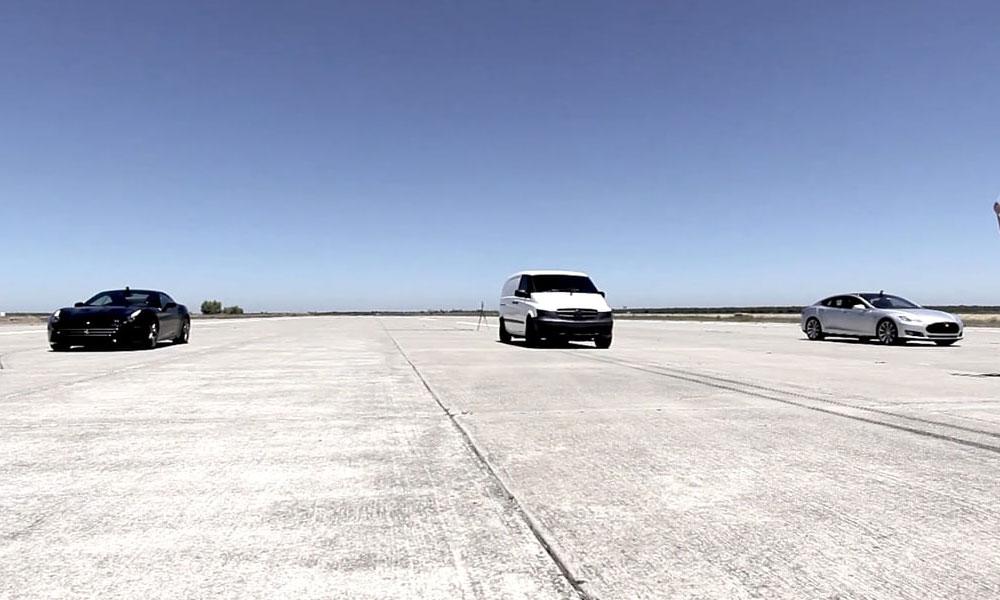 Edna the commercial van outruns a Ferrari California and a Tesla Model S