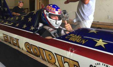 Eddie braun completes steam-powerd rocket canyon jump