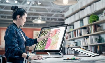 Microsoft Surface Studio has a touch screen with better-than 4K display.