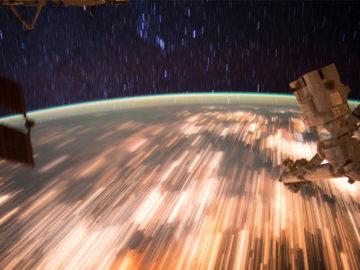 Low Earth orbit star trails