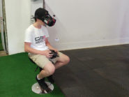 An attending kid flies his drone with first person view (FPV) goggles at the Cape Town drone camp