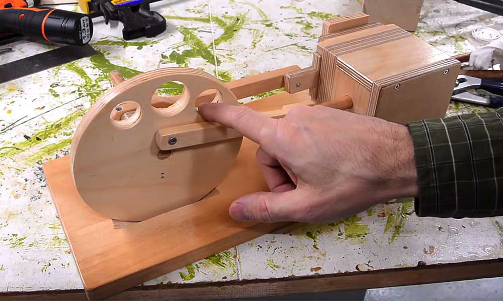 YouTuber builds air-powered wood engine