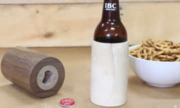 DIY wooden beer koozie with built-in bottle opener