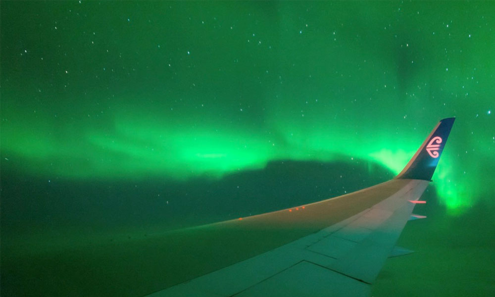 The Aurora Australis captured on video from an airplane