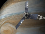 An illustration done by an artist capturing NASA's Juno spacecraft orbiting Jupiter.