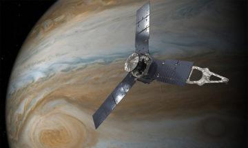 An illustration done by an artist capturing NASA's Juno spacecraft orbiting Jupiter.