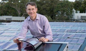 Professor Paul Dasoor testing his printed solar panels.