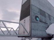Svalbard Global Seed Vault entrance nestled in ice.