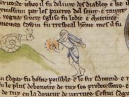 A knight fighting a snail in the margin of one of the illuminated manuscripts.
