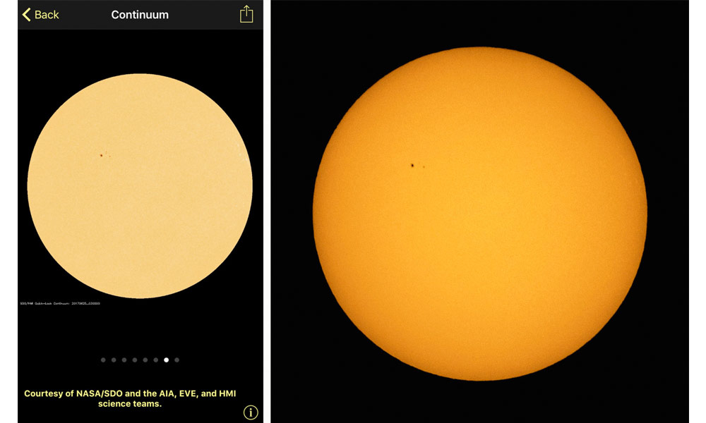 SoHO app showing the sunspot location