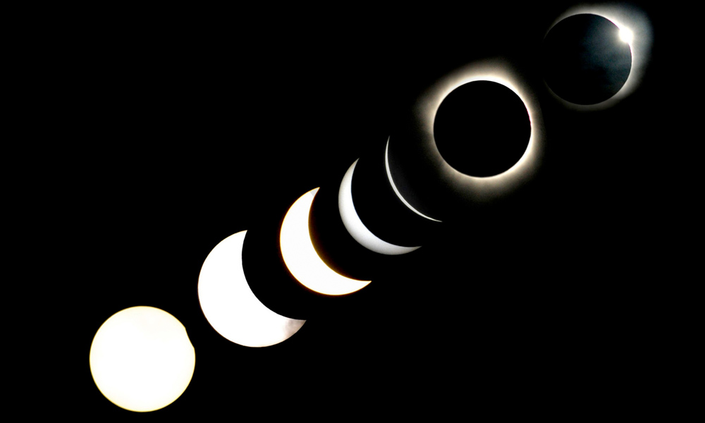 various stages of the total solar eclipse in Baihata village