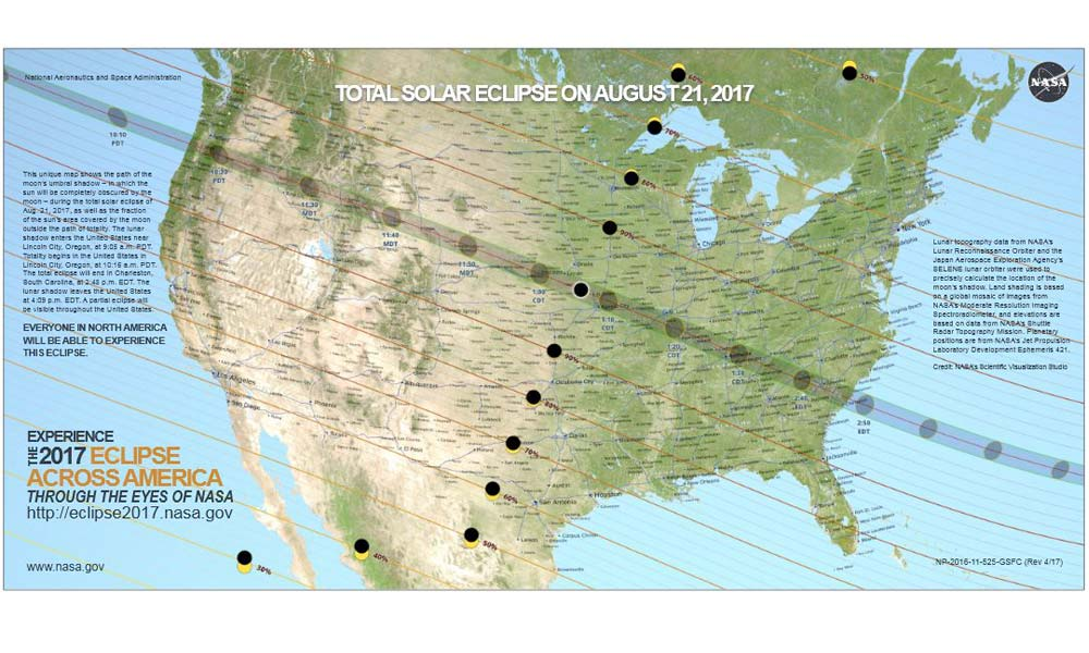 A map of The movement of the solar eclipse across northern America