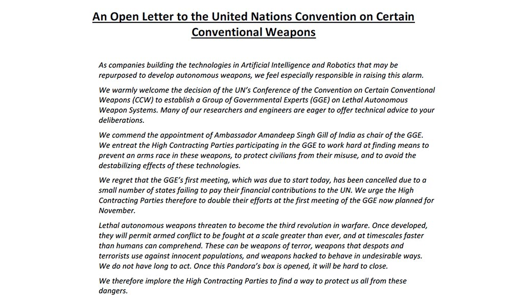 The letter requesting the ban of autonomous weapons