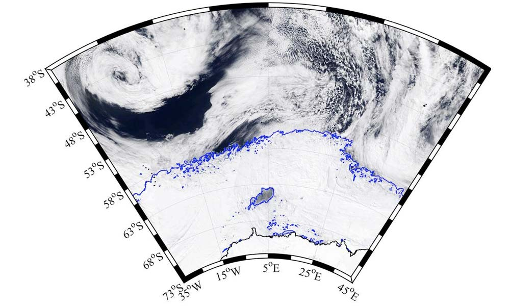 A satellite image of the polynia forming in Antarctica.
